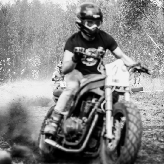 Casual Clothing Day Dusty Track Front View Leisure Activity Moto Motorcycle Motorcycles Nasmgraphia Person Selective Focus Transportation Young Adult Monochrome Photography