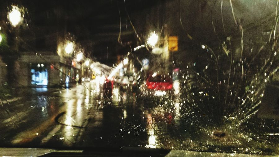 Follow those Taillights! Cracked Windshield Throughmywindshield CityAtNight City Lights Night Lights Rain