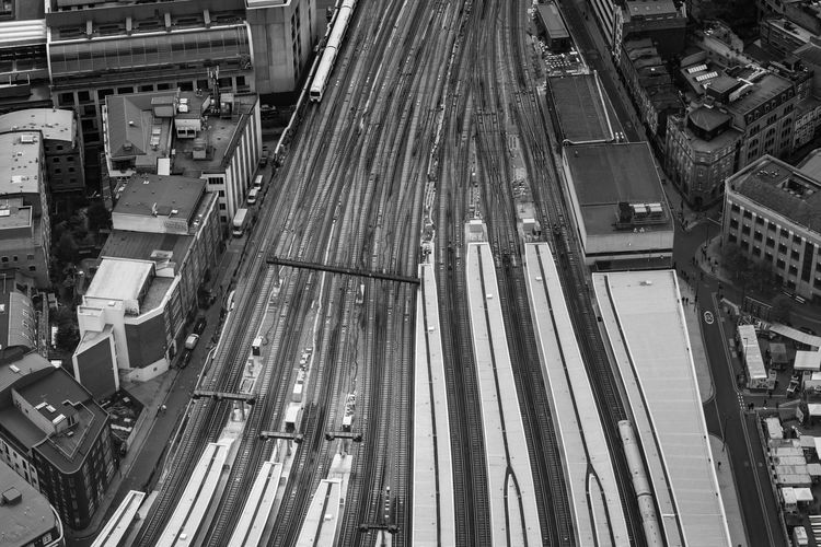 High Angle View Architecture Built Structure Building Exterior Transportation City Mode Of Transportation Day No People Industry Outdoors Machinery Development Aerial View Modern Land Vehicle Connection Travel Destinations Nature Travel Railway Train London Blackandwhite Lines And Shapes