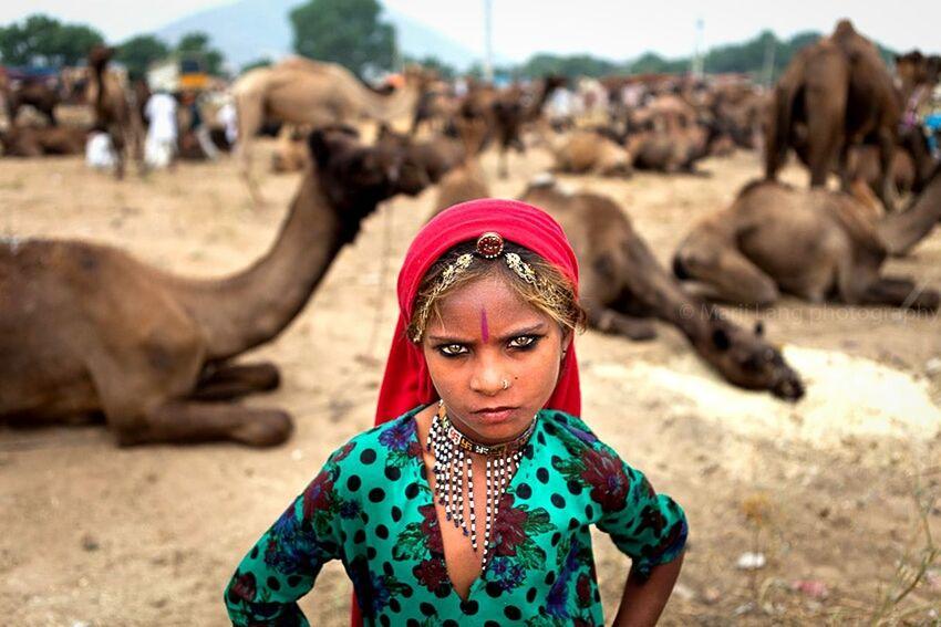 Girl Power India Gypsy Girl Travel Photography Portrait Rajasthan Pushkar Girl Child Childhood Fierce Pride Eyes Look Eyecontact