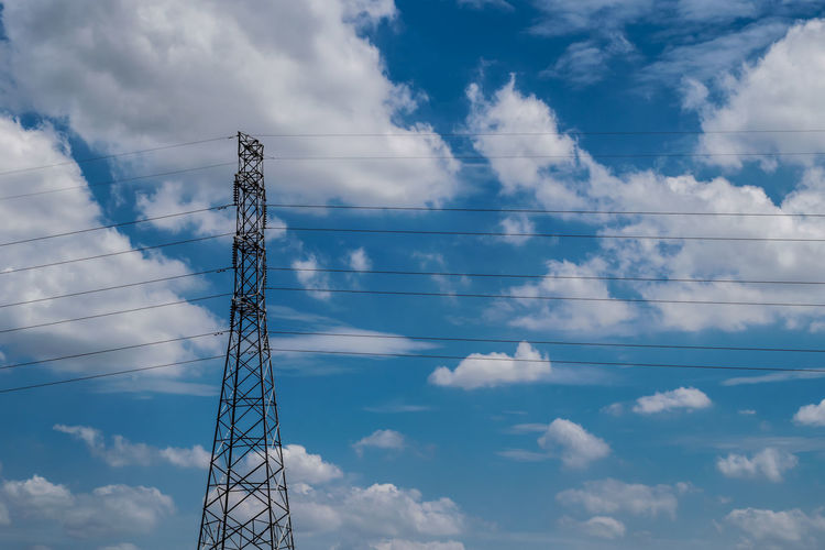 Built Structure Cable Cloud - Sky Communication Connection Day Electrical Equipment Electricity  Electricity Pylon Fuel And Power Generation Global Communications Low Angle View Metal Nature No People Outdoors Power Line  Power Supply Sky Tall - High Technology Tower