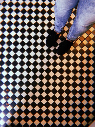 Low Section Human Leg Body Part Human Body Part Pattern Real People Shoe Lifestyles Flooring Standing One Person Tile Tiled Floor High Angle View Indoors  Men Checked Pattern Human Limb Human Foot