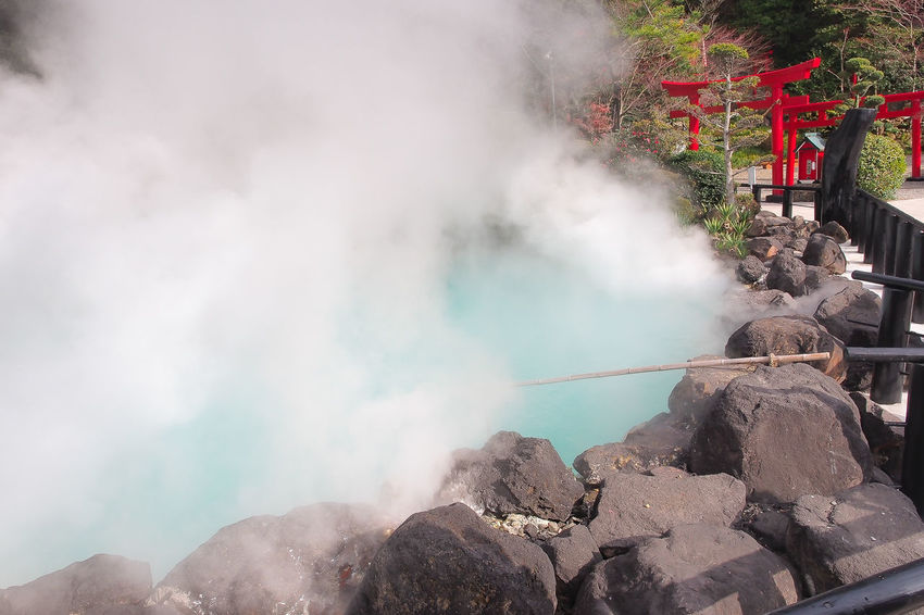 Umi Jigoku (Hell) at Beppu. Hot Onsen Smoke Terquoise Travel Beppu Blue Day Geology Heart Heat - Temperature Jigoku Nature No People Outdoors Park Physical Geography Power In Nature Rock Smoke - Physical Structure Spring Tourism Umi Water