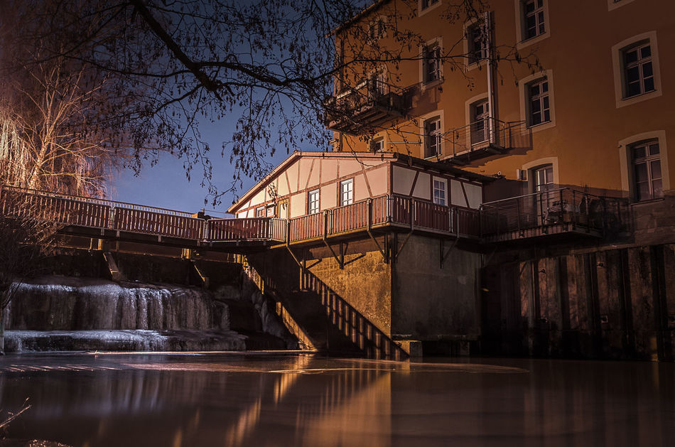 Schwabach Erlangen D5100 Nikon Nightphotography Nightshot Winter Cold Frozen River Built Structure Architecture Water Night Building Exterior Reflection Outdoors