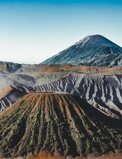 This view is at mount bromo which shows bukit widodaren and mount semeru