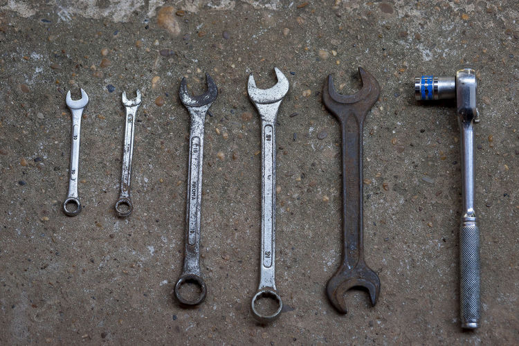 High angle view of work tools on land