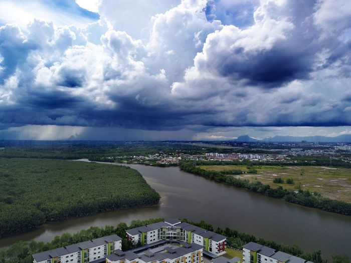 Cloud - Sky Sky Water Agriculture Scenics High Angle View Outdoors Nature Lake Landscape No People Horizon Over Water Beauty In Nature Day City Riverbank Dronephotography DJI Mavic Pro