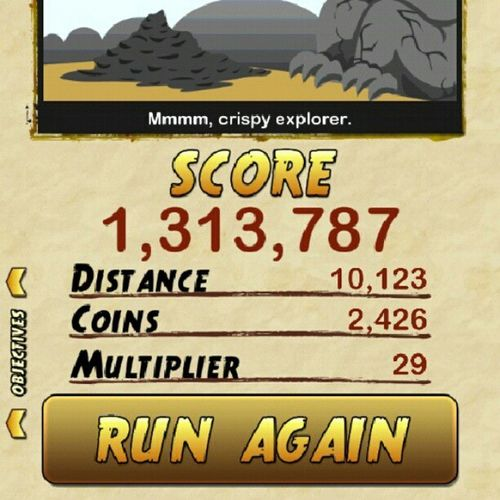 Scored a milli on my first time playin temple 2 but i can do way better than this tho...Templerun2 Newhighscore