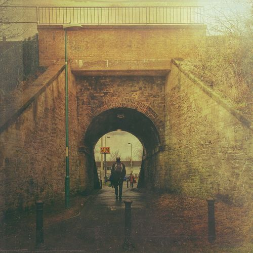 Arch Built Structure Walking Bridge Newcastle Metro Station Man Walking From Behind Man Walking Alone