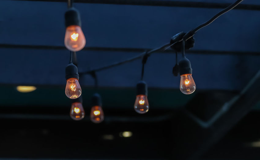 Lights Illuminated Lighting Equipment Hanging Glowing No People Close-up Focus On Foreground Electricity  Light Bulb Night Cable Nature Indoors  Burning Dusk Selective Focus Flame Light Filament Electric Lamp