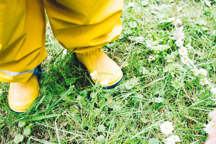 Child Close-up Clothes Day Field Grass Grass High Angle View Low Section Nature One Person Outdoors Rain Real People Standing Yellow
