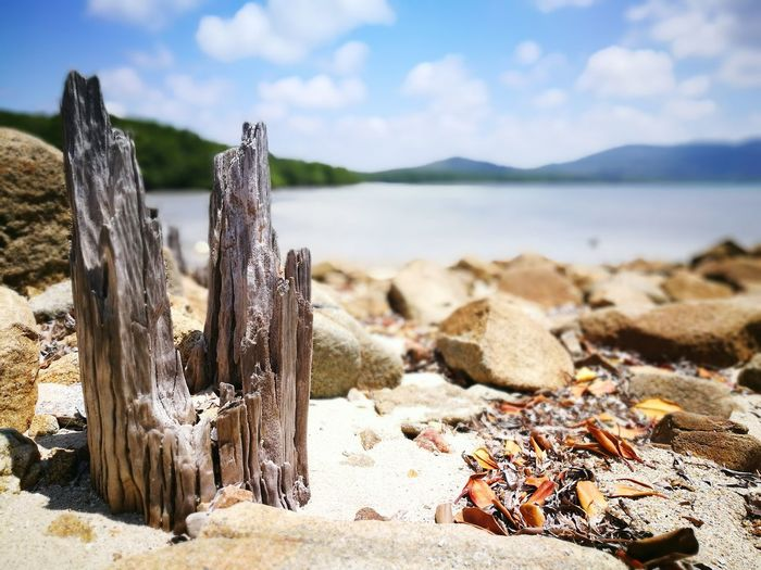 Wooden Post Water Sky Lake Tranquil Scene Mountain Cloud Scenics Sea Tranquility Nature Non-urban Scene Lakeshore Cloud - Sky Shore Blue Day Outdoors Mountain Range Focus On Foreground Been There. Summer Exploratorium