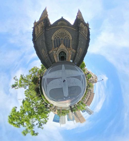 St Patrick's Cathedral, Melbourne The Tiny Planet The Tiny Planet Photo Effect Architecture Bell Tower Building Exterior Cloud - Sky Day Fish-eye Lens No People Outdoors Place Of Worship Religion Sky Spirituality Statue Travel Destinations Tree