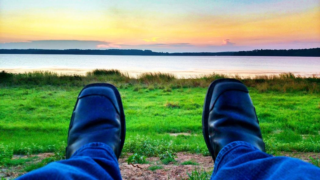 It's a rough job but sombody has got to do it... Steel Toe Boots Work Sunrise Martin Lake State Park Personal Perspective Grass Relaxation Lake Sitting Water Getting Paid To Do What I Love Check This Out