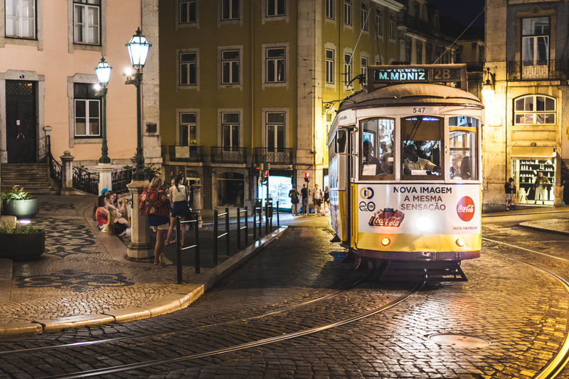 Tram Architecture Building Exterior Built Structure Cable Car City City Life Illuminated Land Vehicle Lisbon Mode Of Transportation Night Nightlife Public Transportation Street Track Transportation #urbanana: The Urban Playground HUAWEI Photo Award: After Dark It's About The Journey Streetwise Photography
