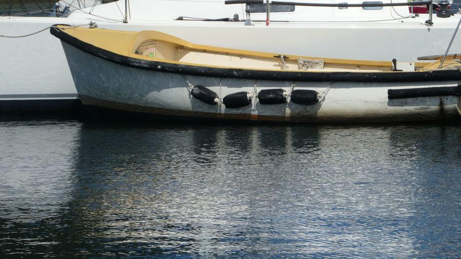 Boat moored in river