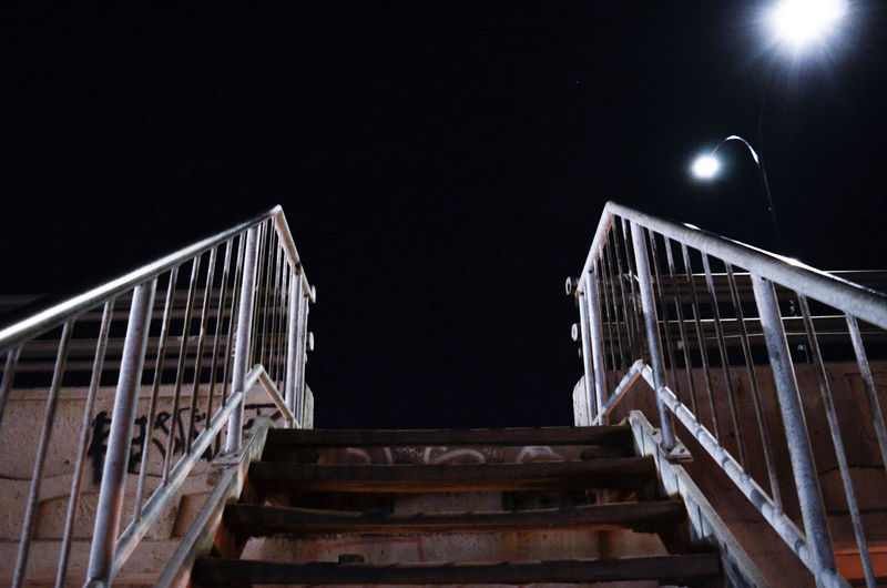 Illuminated Steps And Staircases Steps Staircase Black Background Railing Architecture Sky Urban Scene