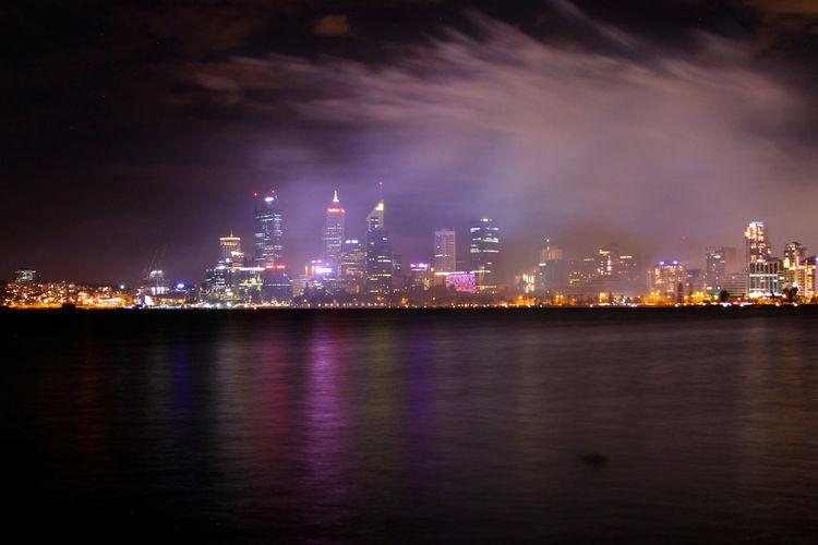 Architecture City Cityscape Illuminated Night No People Outdoors Perth Polution Polution Cloud Polution Is Everywhere Reflection Sky Skyscraper Smoke Urban Skyline Water
