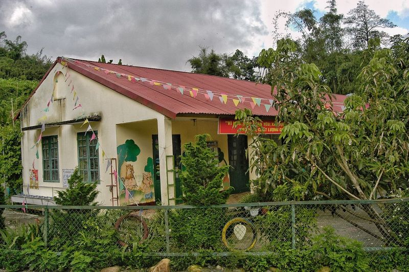 Primary School Vietnam Discovery Popular Popular Photos Built Structure Architecture Plant Building Exterior Tree Building Sky Day Nature House No People Roof Growth Cloud - Sky Residential District Outdoors Green Color Communication Fence Place Of Worship