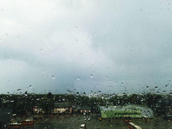 Rain Town Backgrounds Wet Full Frame Rainy Season
