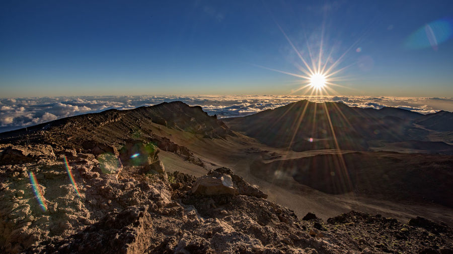 Sun shining over haleakala national park