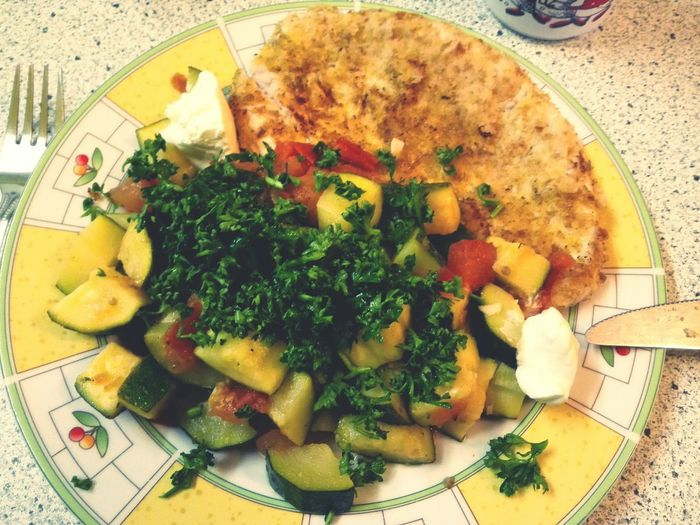 Oh My Schnitzel! with Vegetables and Sourcream Healthy Dinner