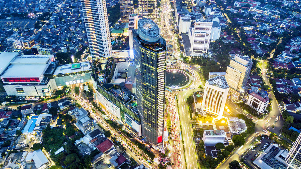 INDONESIA Jakarta Architecture Building Building Exterior Built Structure City City Life City Street Cityscape Crowd Crowded Financial District  High Angle View Modern Office Building Exterior Outdoors Residential District Road Skyscraper Street Tall - High Transportation