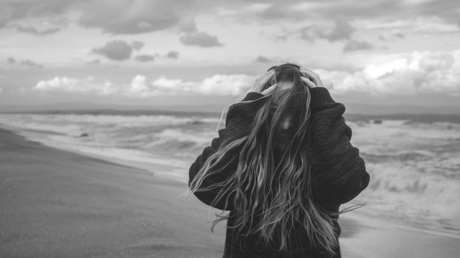 Life on the edge Cloud Cloudy Beach Beachphotography Cloud - Sky Day Hair Land Looking At View Nature One Person Outdoors Pullover Sand Sea Seascape Sky Standing Stormy Sunset Water Waterfront Wave Windy Women EyeEmNewHere