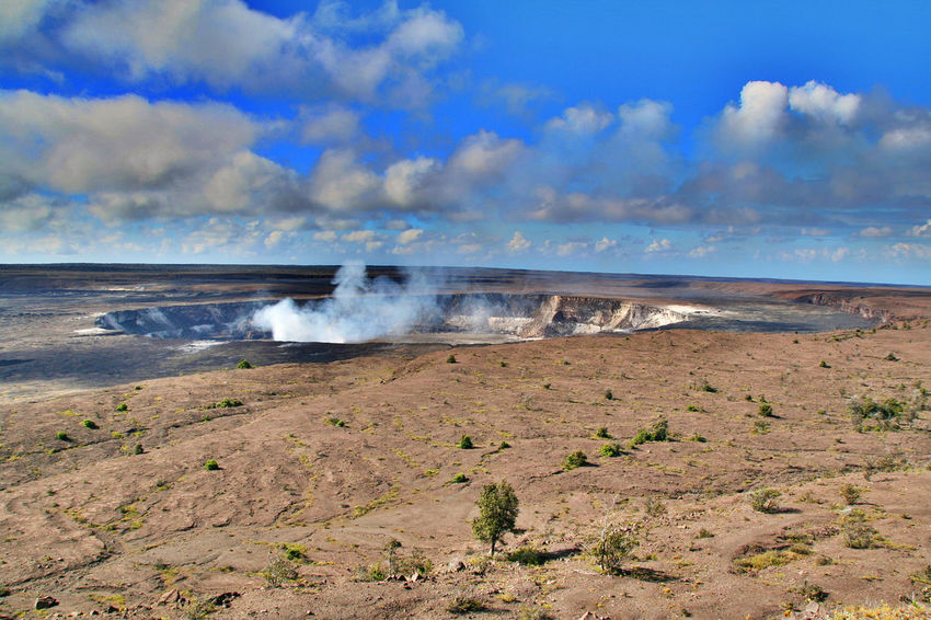Kilauea Volcano Nature Cloud - Sky Beauty In Nature Outdoors Power In Nature Smoke - Physical Structure No People Beauty In Nature Travel USA Panoramic Tourist Hawaii Life Volcano Crater Postcard Nature Big Island Hawaii Wildlife Hawaii USA Big Island Hawaii Volcano Stone Sea Water Wave Day