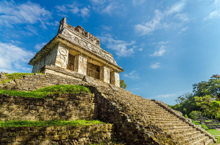 Temple in ancient Mayan city of Palenque with a beautiful blue sky Ancient Architecture Chiapas Chiapas, México Christian Church Colonial Corzo Culture Destination Door Forest Historic Historical Jungle Landmark Latin Maya Mayan Mexico Old Palenque Pyramid Spanish Temple
