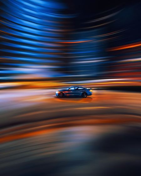 High angle view of car on street at night