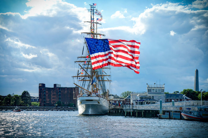 Boston Massachusetts American Flag No People Outdoors Tall Ship Flag Sailboat Ocean View Dockside Clear Sky