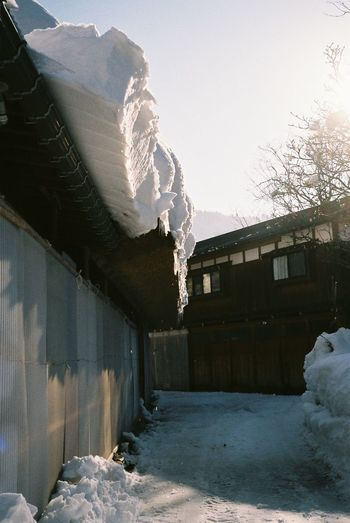 Architecture Cold Temperature Day EyeEm Gallery Film Photography Freezing House Japan Nature No Filter, No Edit, Just Photography No People Outdoors Shirakawago Snow Travel Destinations Winter Winter Wooden Wooden House