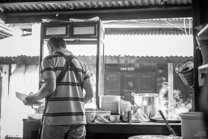 Thai Noodle Style Architecture Building Exterior Built Structure Businessman Day Manual Worker Men Noodle Occupation Outdoors People Real People Rear View Sky Standing Thai Noodle Shop Working
