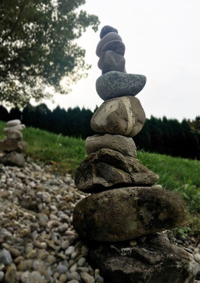 Steine Stein Auf Stein Stack Plant Nature Stone - Object Solid Sky Day Rock
