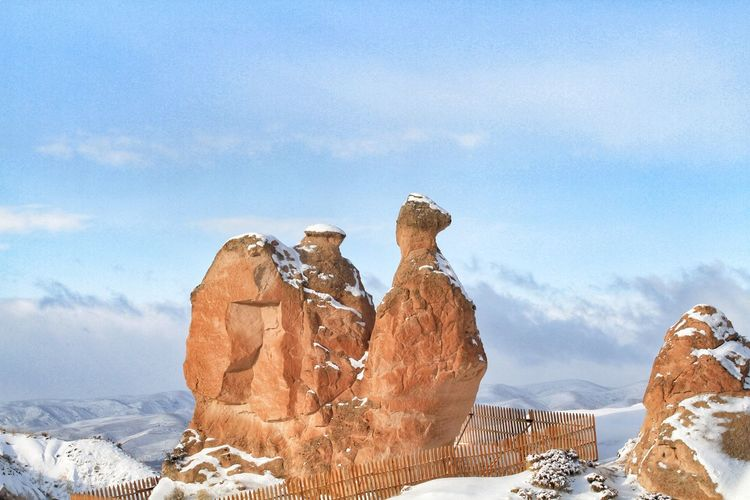 Turkey Natural Landmark Snow Rock Hoodoo Sculpture Cold Temperature Blue Winter Sky Close-up Rock Formation Rocky Mountains Rock - Object Arid Landscape Stack Rock Natural Arch