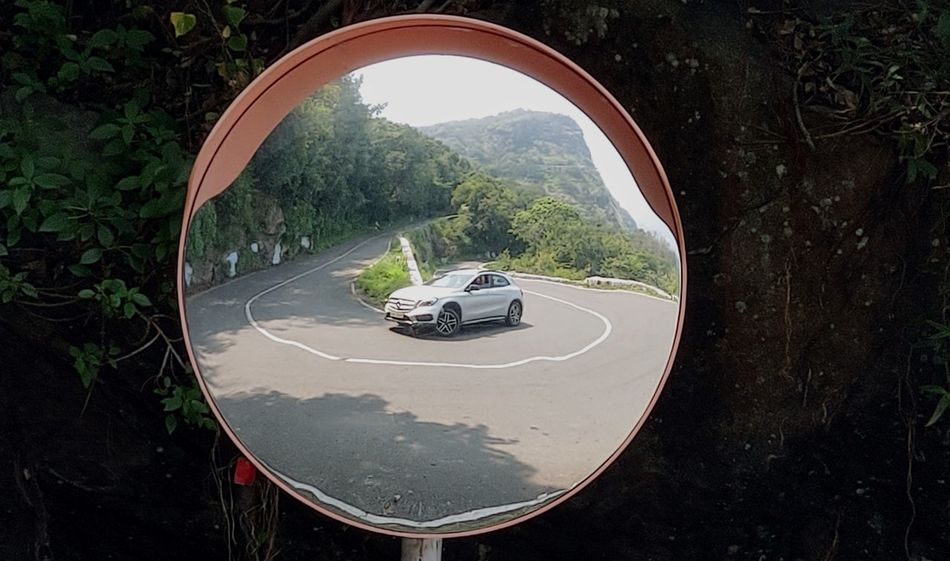 Hairpin Curve Mercedes Car On The Road Water Tree Concentric Arch Vehicle Empty Road