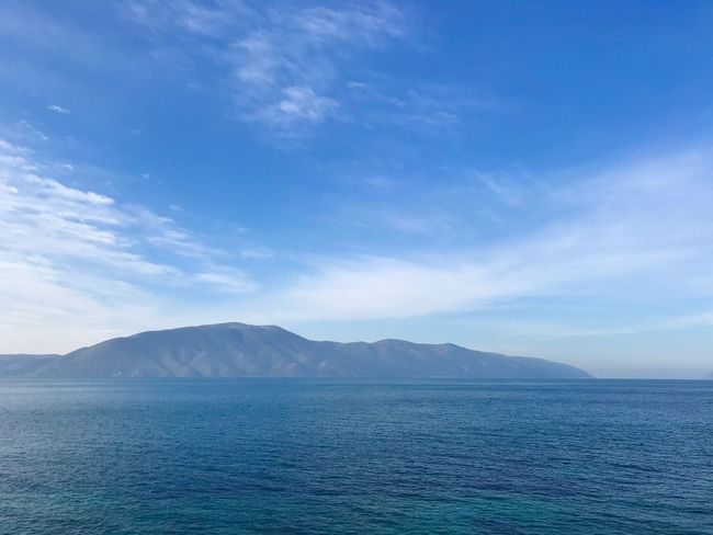 Albania Radhime #Radhime Mountain Scenics Tranquil Scene Beauty In Nature Nature Tranquility Blue Sky Mountain Range Water No People Sea Day Outdoors