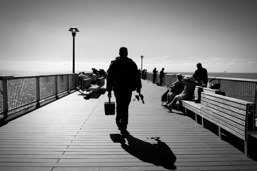 Bridge - Man Made Structure City Black & White Seascape Fishing Time Fishing Man The City Light Welcome To Black Black And White Friday Visual Creativity