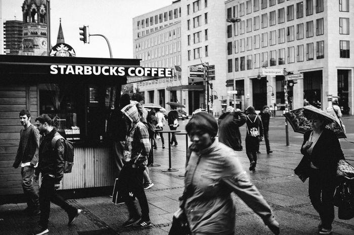 Berlin Black Blackandwhite City City Street Contrast Outdoors People Person Starbucks Street Photography Streetphotography The Street Photographer - 2016 EyeEm Awards Zoo