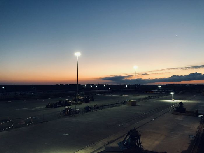 High angle view of airport at sunset