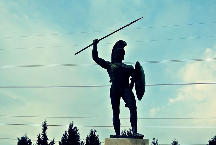 Low Angle View Of Leonidas Statue Against Sky