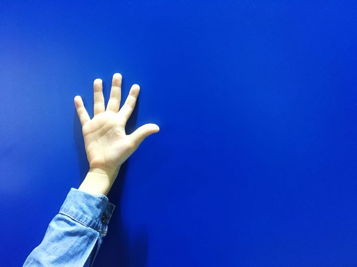 Cropped hand against blue wall