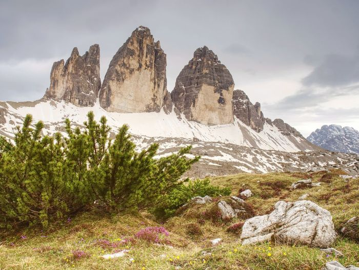 Evenning spring panorama view from popular trail. sharp peaks tre cime di lavaredo, italien alps