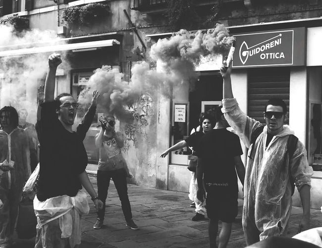 Redflag Revolution Joung Fight Protest Manifestation Students Venice, Italy Blackandwhite Fighter