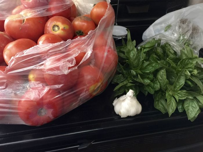 Basil Food Freshness Garlic Healthy Eating Indoors  Large Group Of Objects Raw Food Red Sauce Still Life Tomato Vegetable