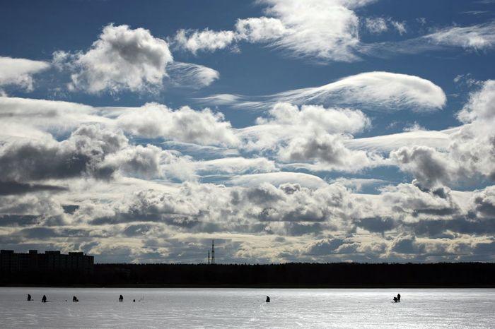 Clouds and sun over lake Harku in cold winter day. Altostratus Cloud - Sky Clouds Cloudscape Cold Temperature Cumulus Cumulus Cloud Day Ice Nature Outdoors Scenics Snow Stratocumulus Winter