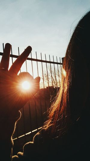 Lens Flare Protection Silhouette Sun Sunset Sunlight Sky People Outdoors Day Nature Oil Pump First Eyeem Photo