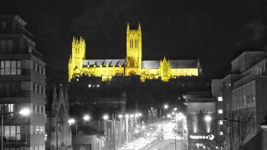 Illuminated Night Architecture Building Exterior Built Structure City Yellow Travel Destinations No People Outdoors Night Photography Nightphotography Cathedral Majestic Lincoln Cathedral Lindum Hill Lincoln City Lincoln View From The Bridge City Architecture Traffic Traffic Lights Daily Commute 5 Oclock Rush