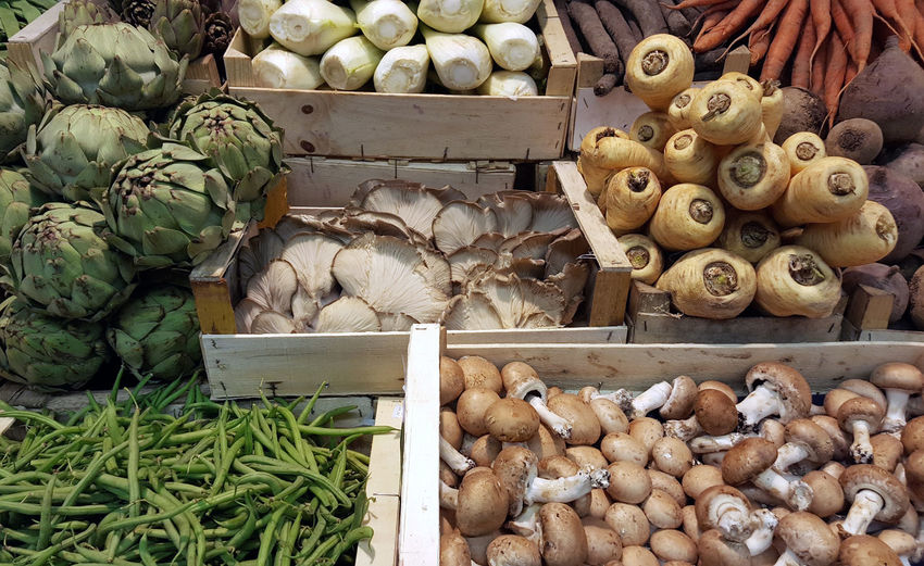 Close-Up Of Vegetable For Sale At Market Stall